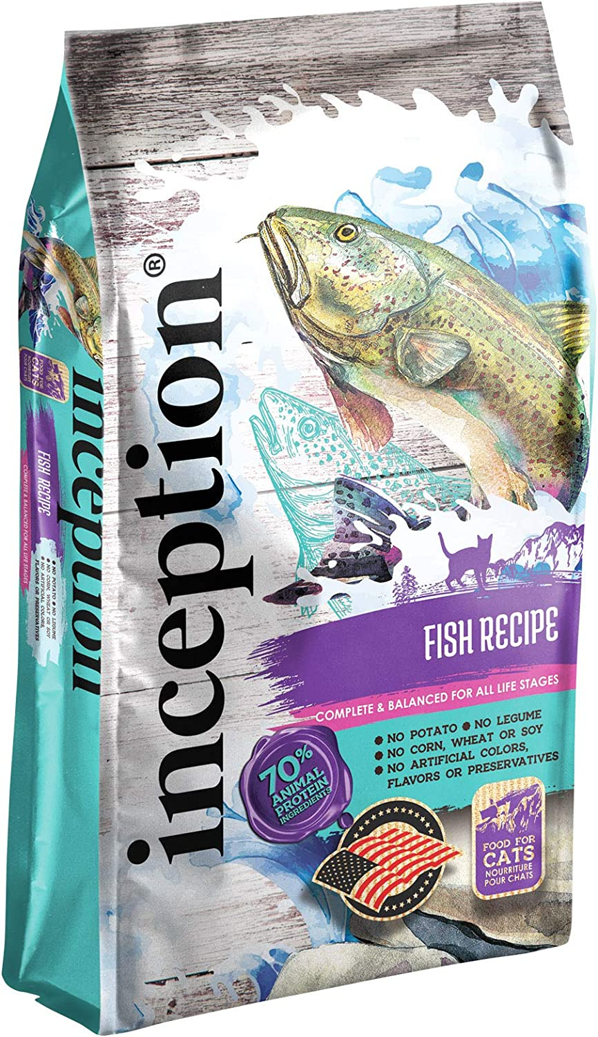 Inception Dry Cat Food Fish Recipe – Complete and Balanced Cat Food – Meat First Legume Free Dry Cat Food – 13.5 lb. Bag