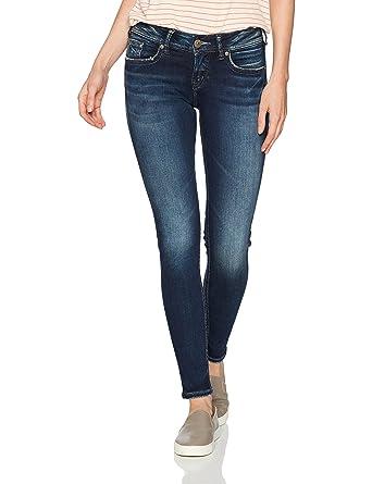 6a050906 Silver Jeans Co. Women's Suki Curvy Fit Mid Rise Super Skinny Jeans, Dark  Sandblast