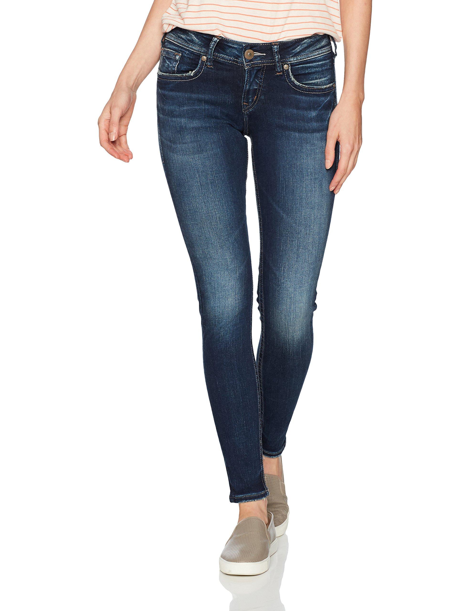 Silver Jeans Women's Suki Curvy Fit Mid Rise Super Skinny Jeans, Dark Sandblast Wash, 30 X 31