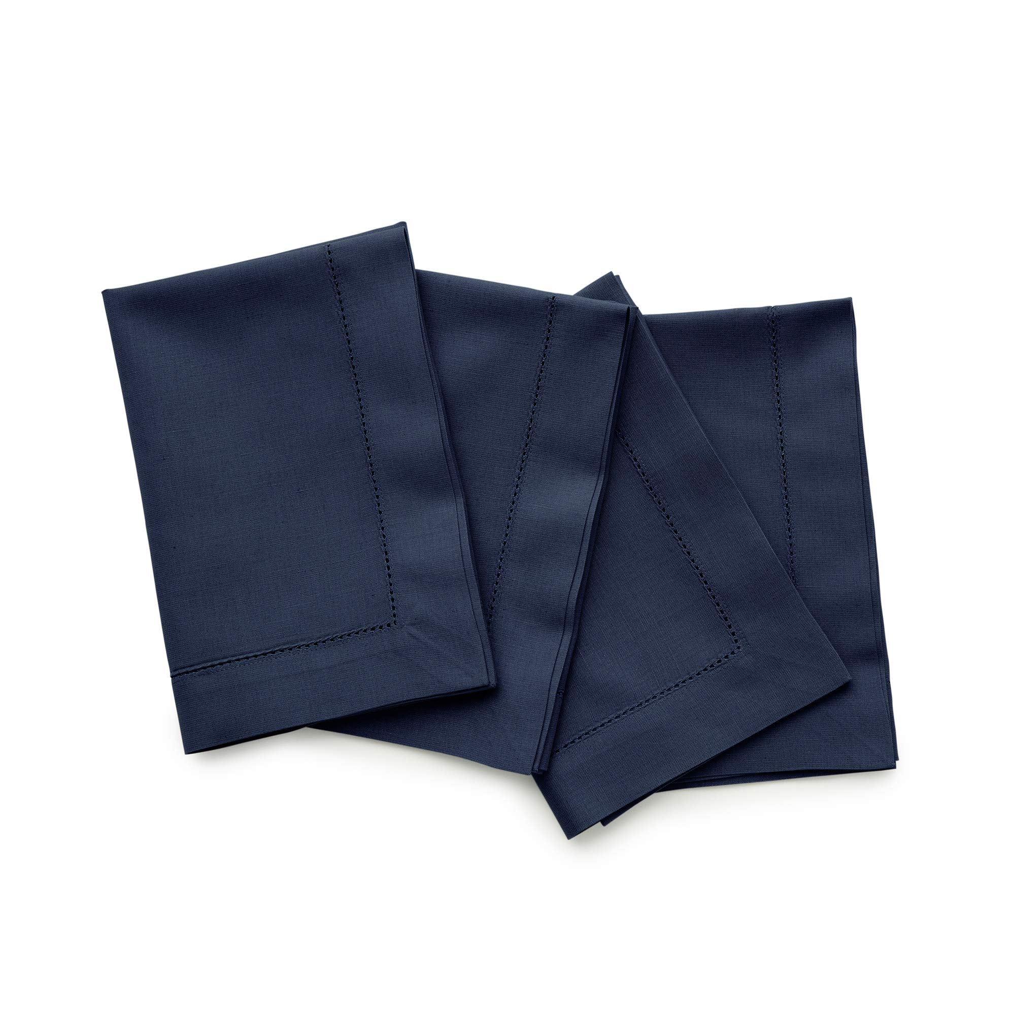 Solino Home Hemstitch Cotton Linen Dinner Napkins - Set of 4, 20 x 20 Inch Navy Natural Fabric - Machine Washable Handcrafted with Mitered Corners by Solino Home