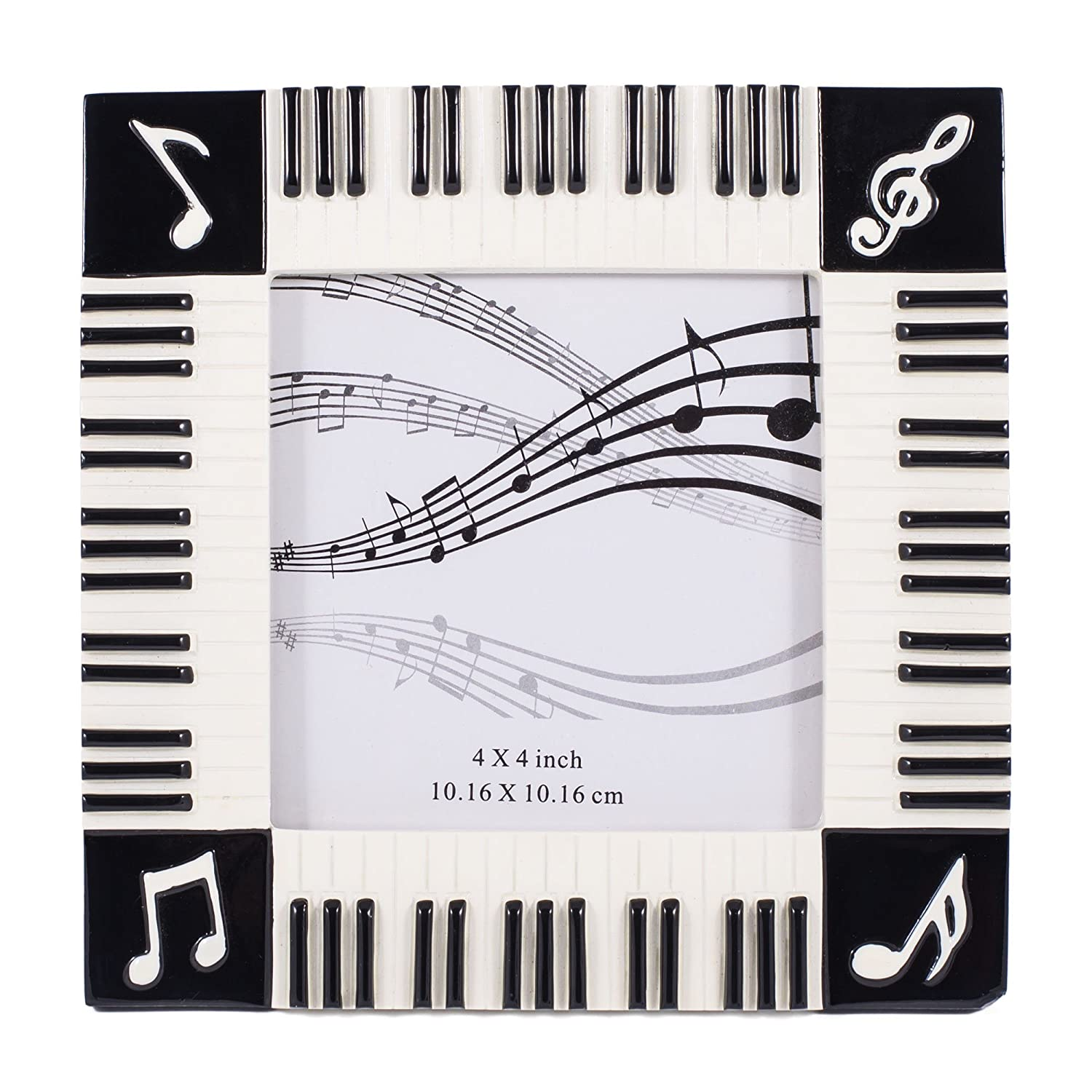 Amazon.com - Piano Keyboard Musical Notes Treble Clef Decorative 4x4 ...