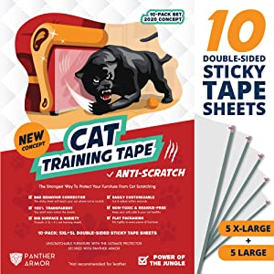"Panther Armor Cat Scratch Deterrent Tape – 10(Ten)-Pack – Double Sided Anti Cats Scratching Sticky Tape – 5-Pack XL 16""L 12""W + 5-Pack Large 17""L 10""W Furniture Protectors – Clear Training Tape"