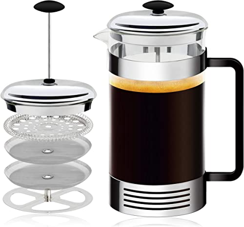 French Press High-Grade Stainless-Steel Single Cup or 32 Ounce Multi-Cup Coffee Maker