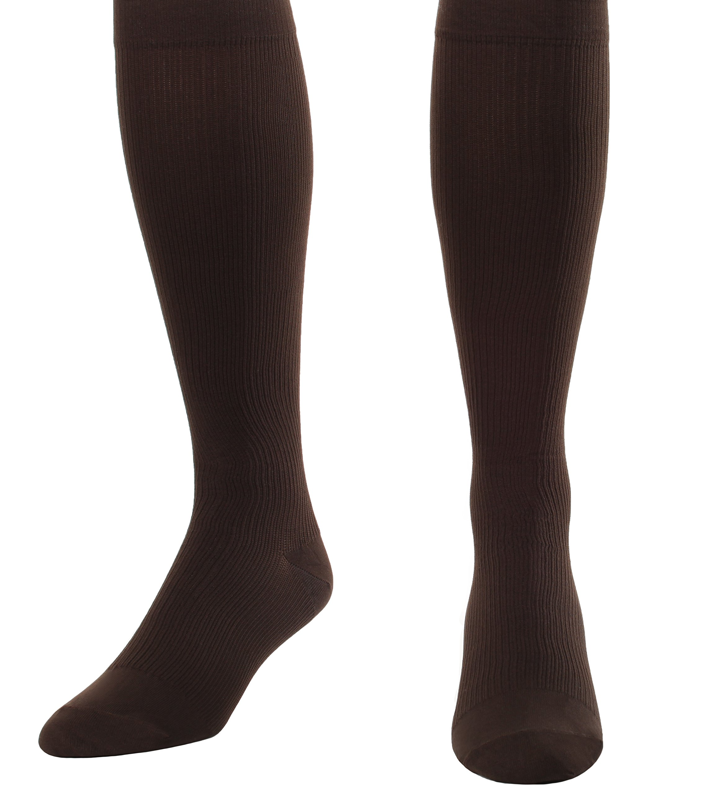 Made in The USA - Medical Compression Socks for Men, Firm Graduated Support Socks 20-30mmHg - Closed Toe - 1 Pair - Absolute Support, SKU: A104BR2 (Brown, Medium) - Helps with Poor Circulation, Edema