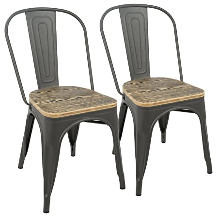 WOYBR DC-TW-OR2 Steel, Bamboo Oregon Dining Chair Set of 2 20 L x 17.5 W x 32.75 H Grey Wood