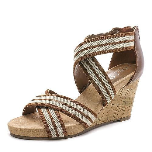 20c54476148 TOETOS Women's Solsoft Low Platform Wedges Back Zipper Sandals
