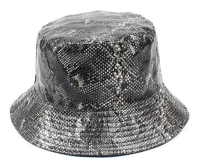 26b9dded Amazon.com: Snake Skin Print Bucket Hat (Black): Clothing