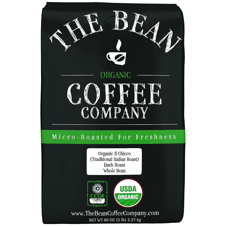 B003OP72PY The Bean Coffee Company Organic Il Chicco (Traditional Italian Roast), Dark Roast, Whole Bean, 5-Pound Bag 81PUxIwxSTL
