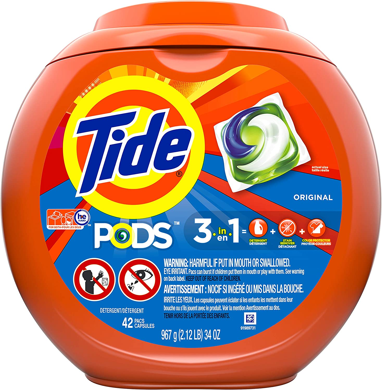 Tide Pods Liquid Laundry Detergent Pacs, Original Scent, 42 Count