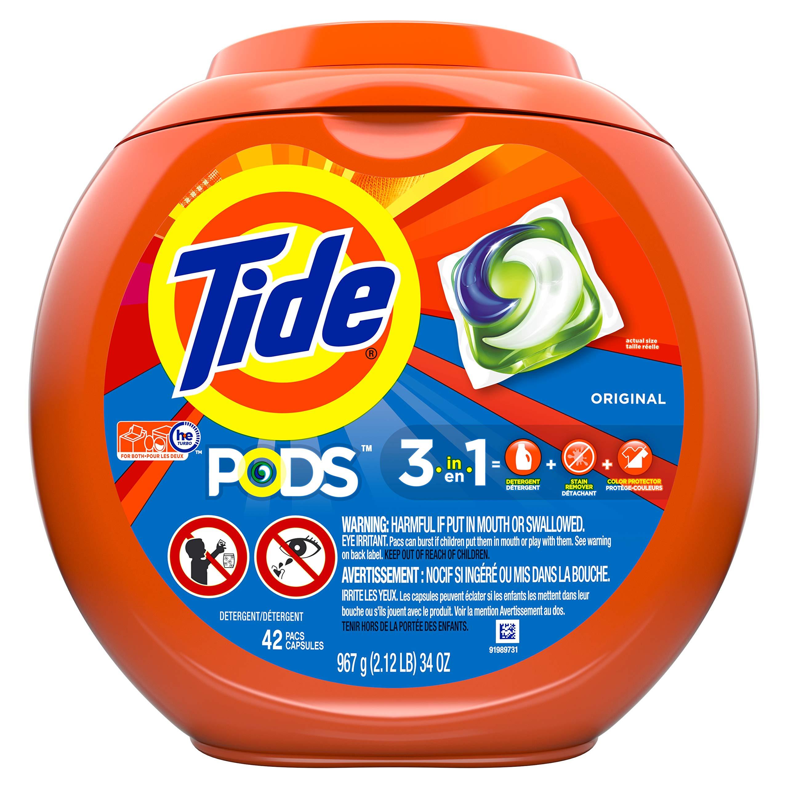 Tide Pods Liquid Laundry Detergent Pacs, Original Scent, 42 Count