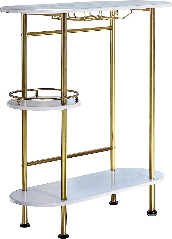 Coaster Home Furnishings 3-Tier Bar Unit, 39.25Wx15.75Dx41.00H, White Oak/Matte Brass