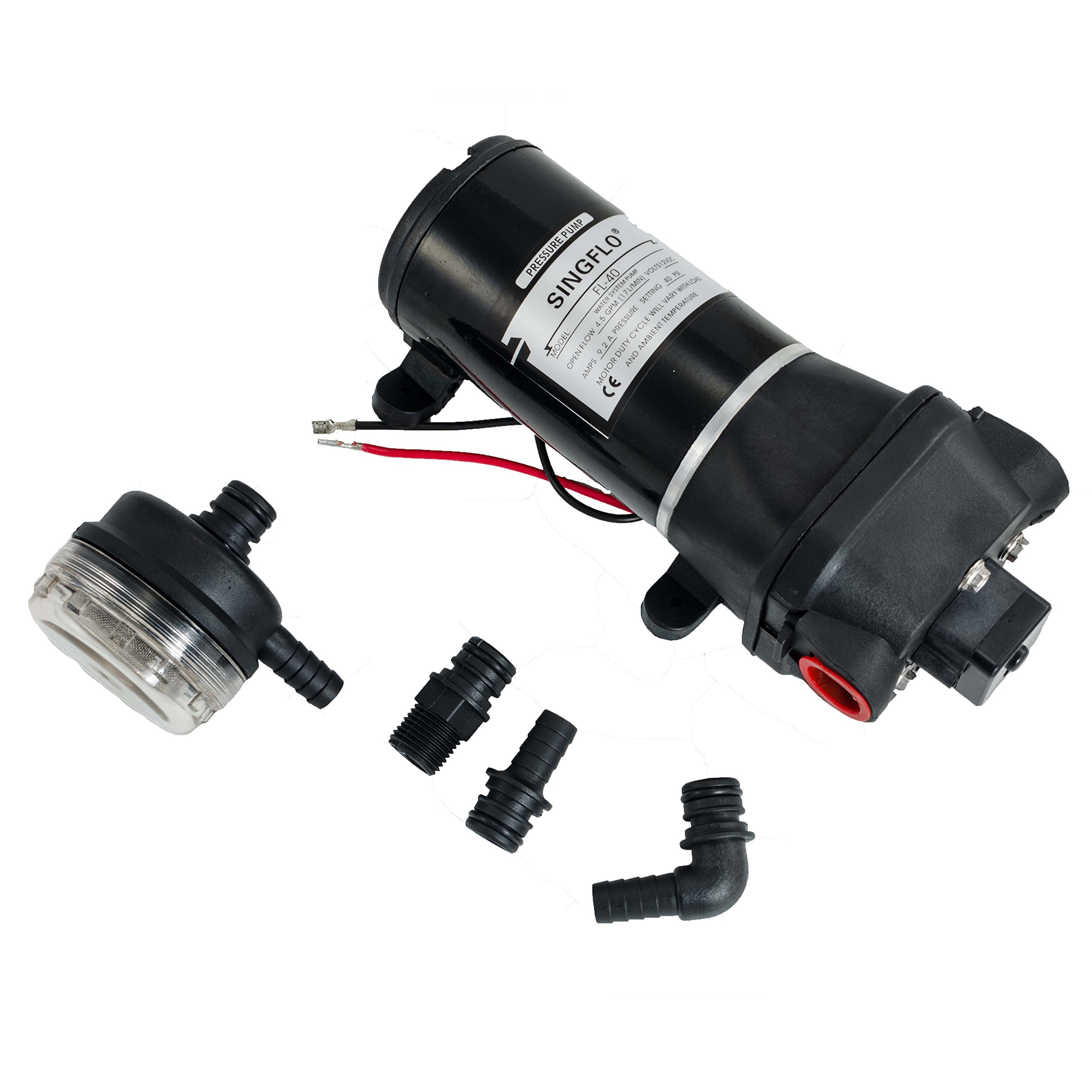 Hex Autoparts High Pressure Water Pump 12V DC 40PSI 4.5GPM Fittings Replace Flojet Caravan RV Boat Marine