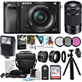 Sony Alpha a6000 24.3MP Mirrorless Camera 16-50mm & 55-210mm Zoom Lens (Black) and 64GB Accessory Bundle