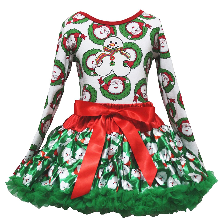 Christmas Dress Xmas Ginger Snowman L//s Shirt Green Santa Claus Skirt Set 1-8y