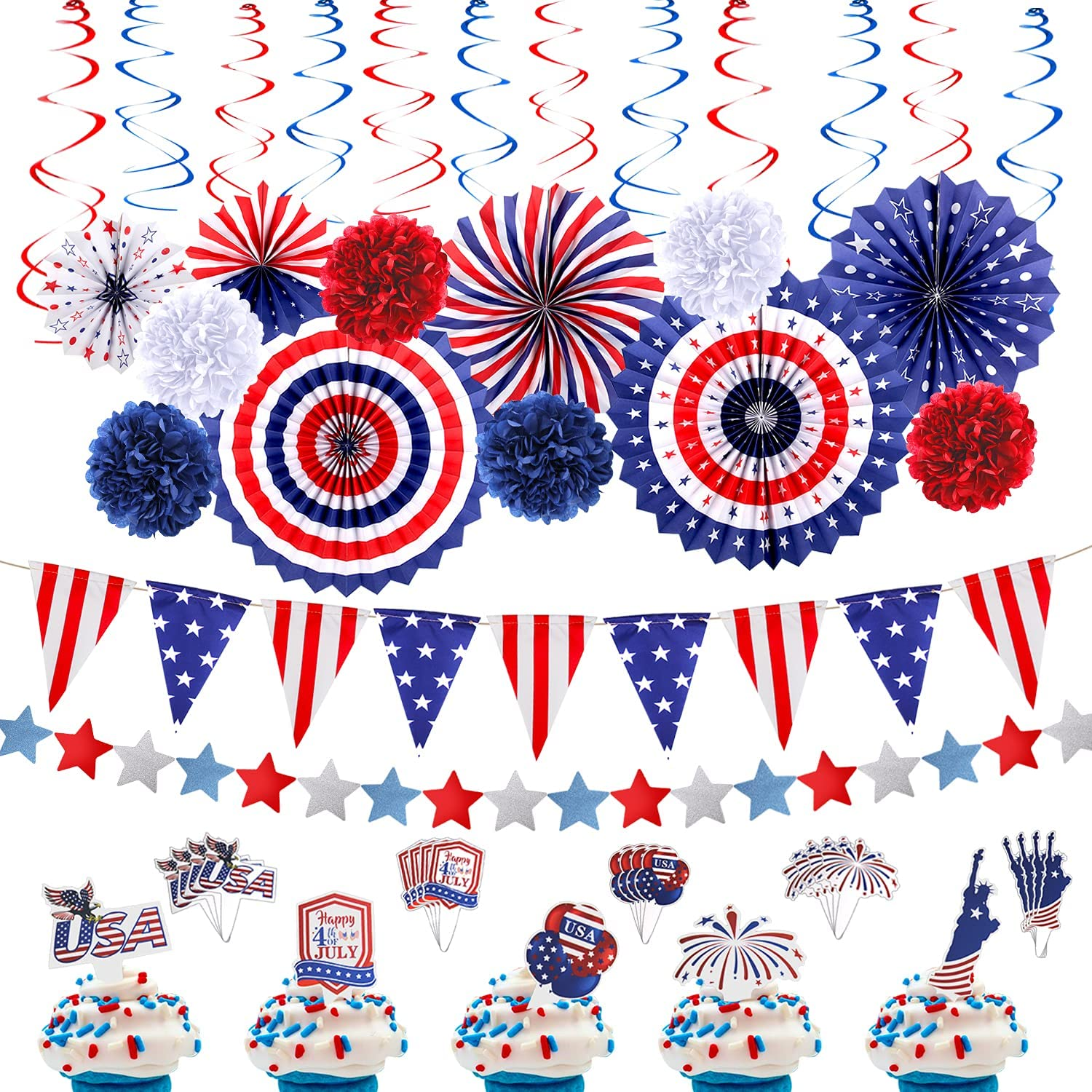 46pcs 4th of July Patriotic Decorations - Fourth of July Decor American Flag Party Supplies - USA Flag Pennant, Red White Blue Paper Fans, Cupcake Toppers, Star Streamer, Hanging Swirls Party Decor