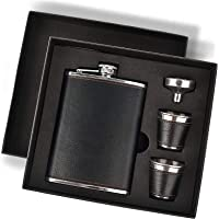 Hip Flask Gift Set with Black Leather Cover,8 Oz Leak Proof 18/8 Stainless Steel Flask for Liquor with 2 Cups & Funnel…