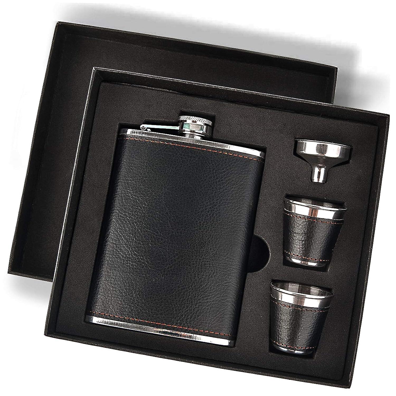 Hip Flask Gift Set Hip Flasks For Liquor For Men With Black Leather Cover 8 Oz Hip Flask Set 18 8 Stainless Steel Hip Flasks For Liquor With 2 Cups Funnel Flasks For Liquor For Men Gift Box Industrial Scientific