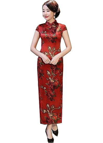9a6b9884857 Amazon.com  Shanghai Story Faux Silk Floral Cheongsam Short Sleeve Long  Qipao L 3801 Red  Clothing