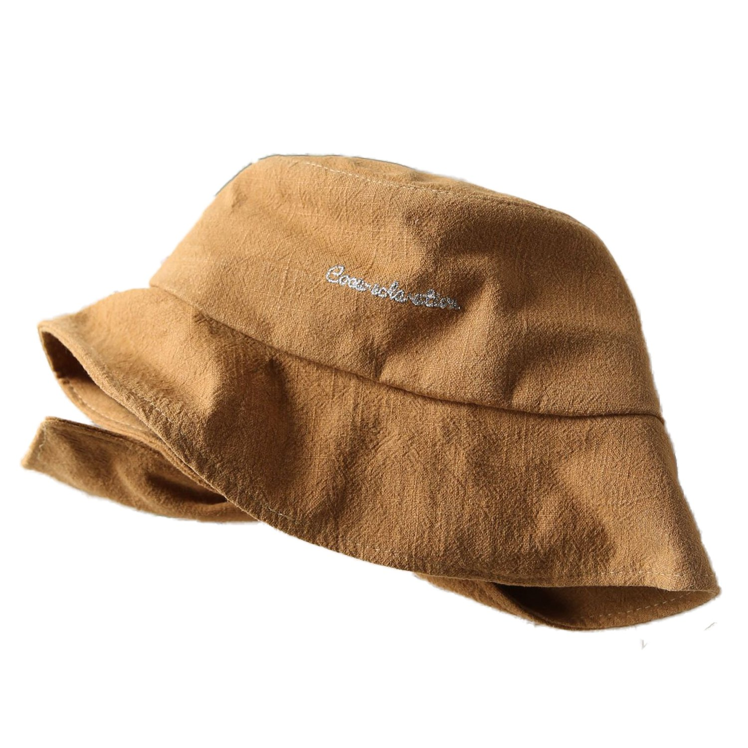 ChezAbbey Flat Top Bucket Hats Solid Color Sun Protection Fisherman Caps with Embroidery Letters