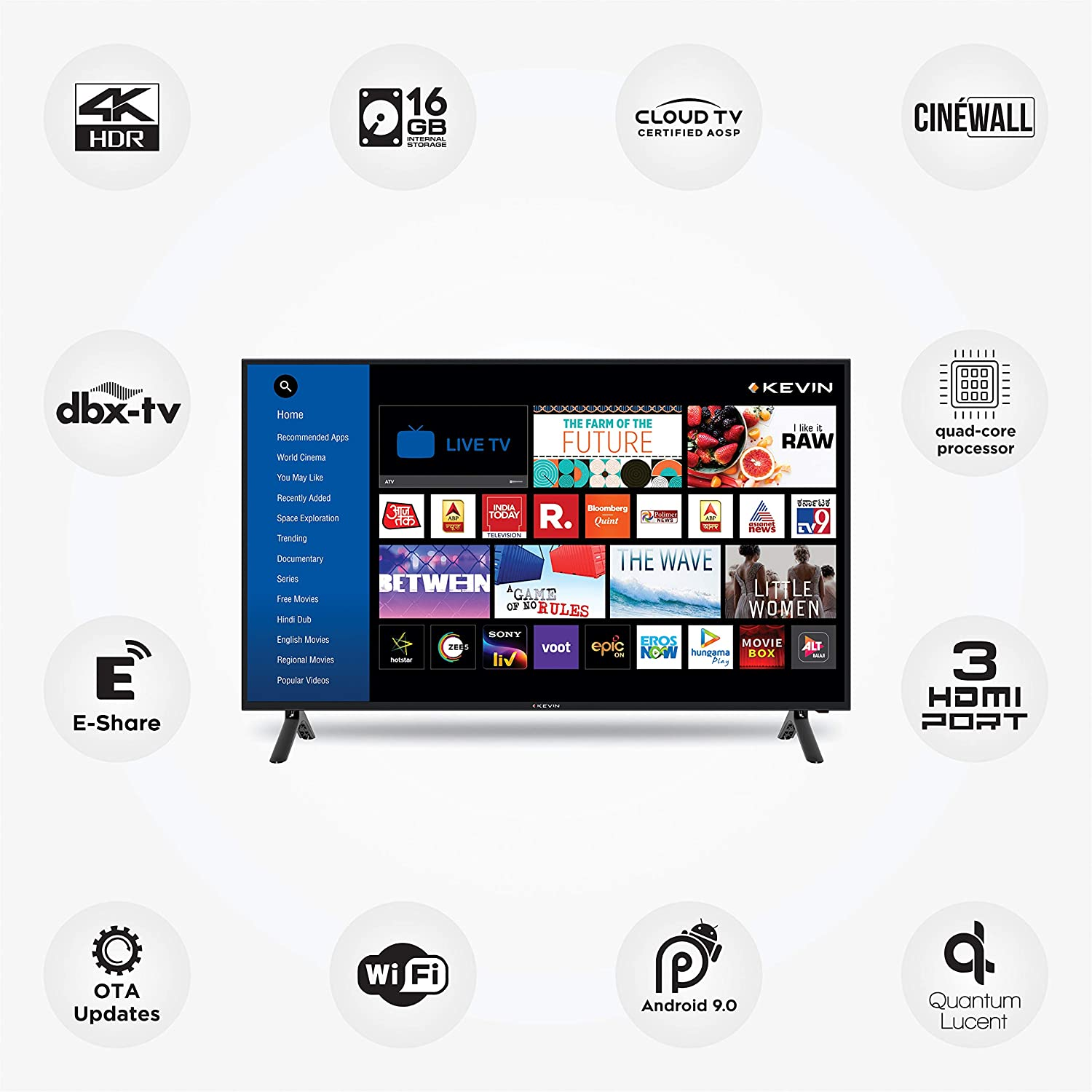 Kevin 109 cm (43 inches) 4K Ultra HD Smart LED TV