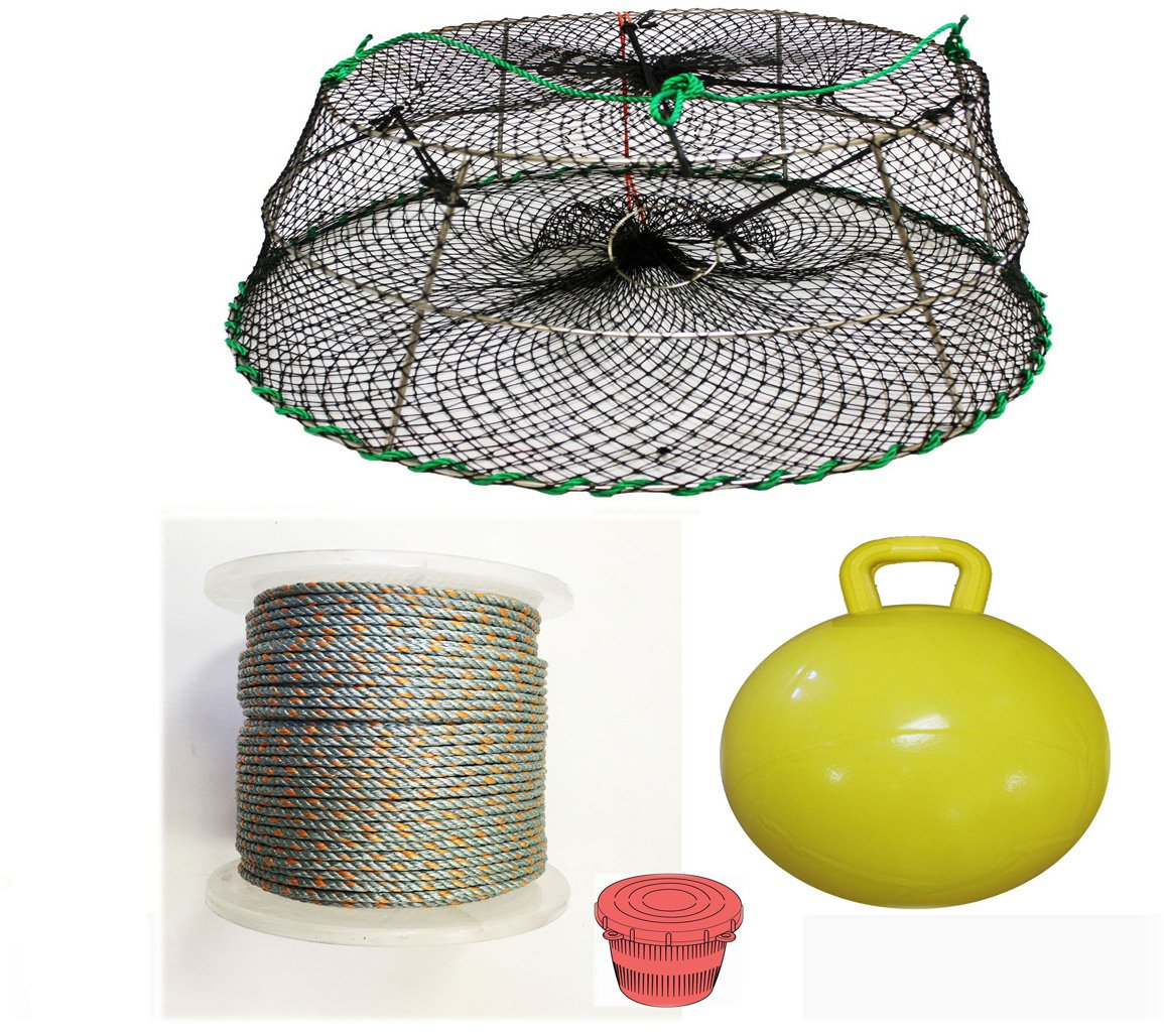 KUFA Sports Tower Style Prawn trap with 400' rope, Yellow float and Vented Bait Jar combo (CT77+PAQ5) by KUFA Sports