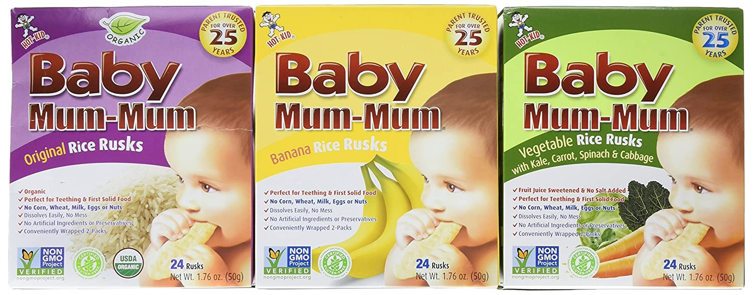 Baby Mum-Mum Variety Pack of 3 Original Banana and Vegetable 1.76 Oz Boxes