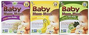 Baby Mum-Mum Variety Pack of 3 Original Banana and Vegetable 1.76 Oz each