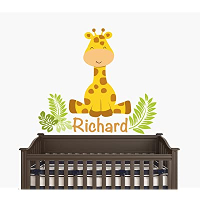 "Custom Name - Sitting Giraffe With Leaves - Baby Boy / Girl - Wall Decal Nursery For Home Bedroom Children (JR) (24"" Wide x 22"" Height): Baby"