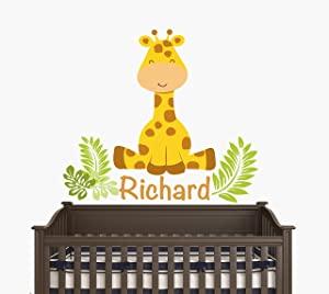 """Custom Name - Sitting Giraffe with Leaves - Baby Boy/Girl - Wall Decal Nursery for Home Bedroom Children (JR) (24"""" Wide x 22"""" Height)"""