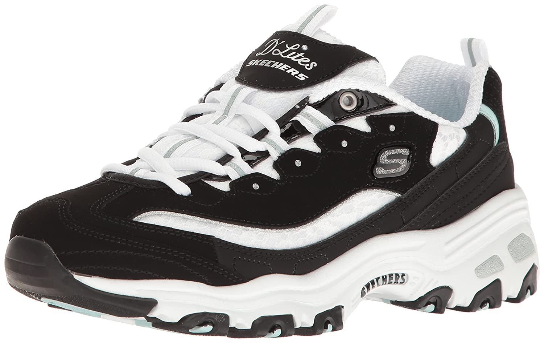 Skechers Women's D'Lites Memory Foam Lace-up Sneaker B01LZDY2AE 9 B(M) US Black/White Lace
