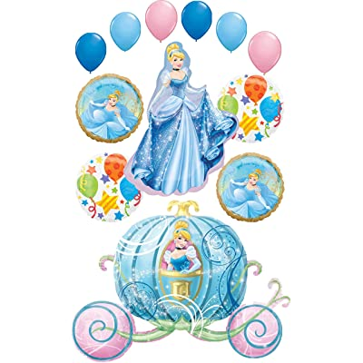 Cinderella Party Supplies Princess and Carriage Birthday Balloon Bouquet Decorations: Toys & Games [5Bkhe1604472]
