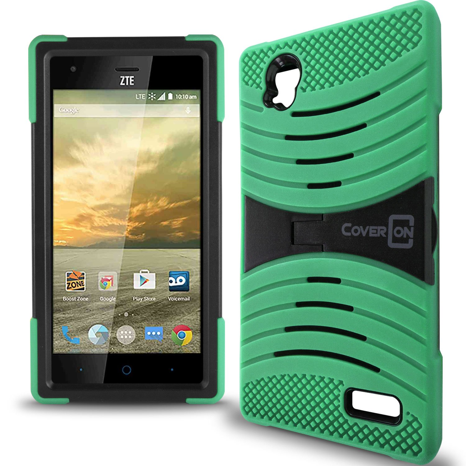 watch 3588f 6e4cb ZTE Warp Elite Case, CoverON [Titan Armor Series] Dual Layer Silicone +  Tough Cover Stand Phone Case For ZTE Warp Elite - Teal & Black