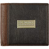 """Two-Tone Genuine Leather Wallet w/""""Be Strong and Courageous"""" Badge"""