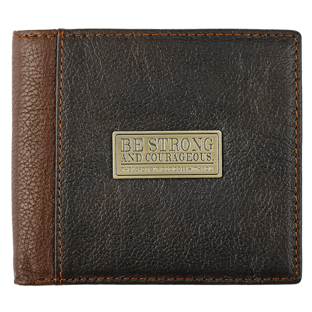 Two-Tone Genuine Leather Wallet w/''Be Strong and Courageous'' Badge