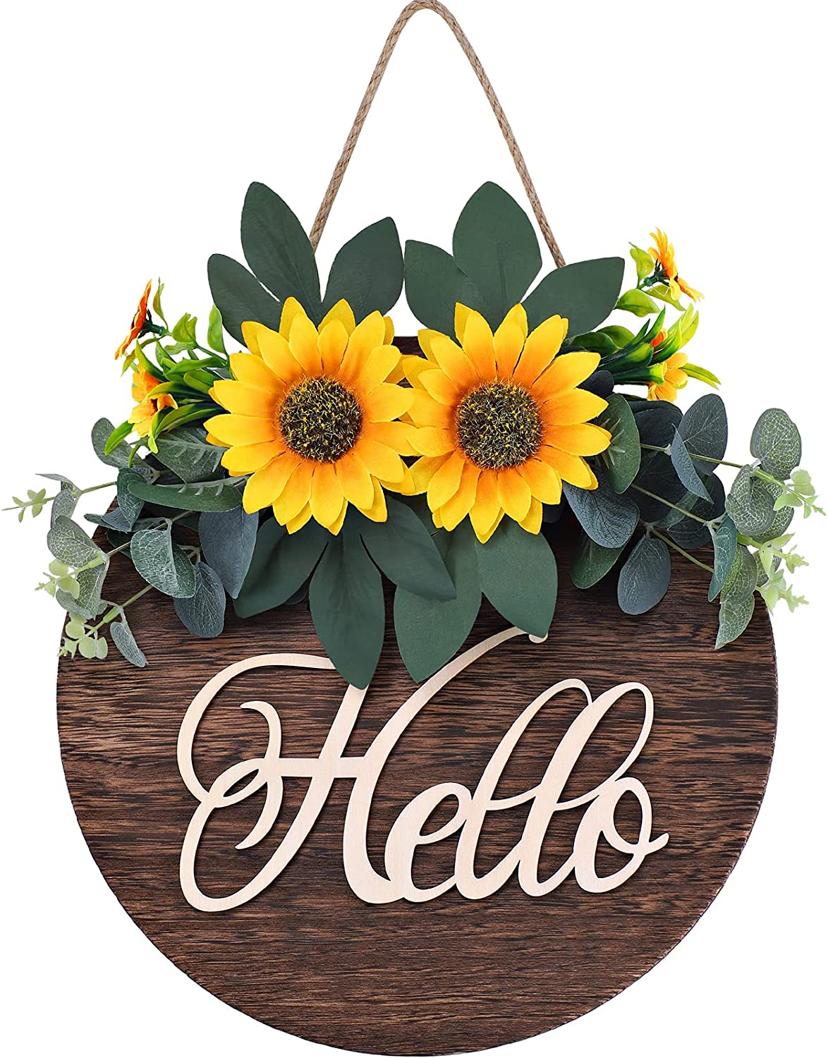 Welcome Sign for Front Door Decor, Hello Sign Welcome Wreaths for Front Door, Wooden Rustic Home Decor for Farmhouse Front Porch Decor and Housewarming Gift