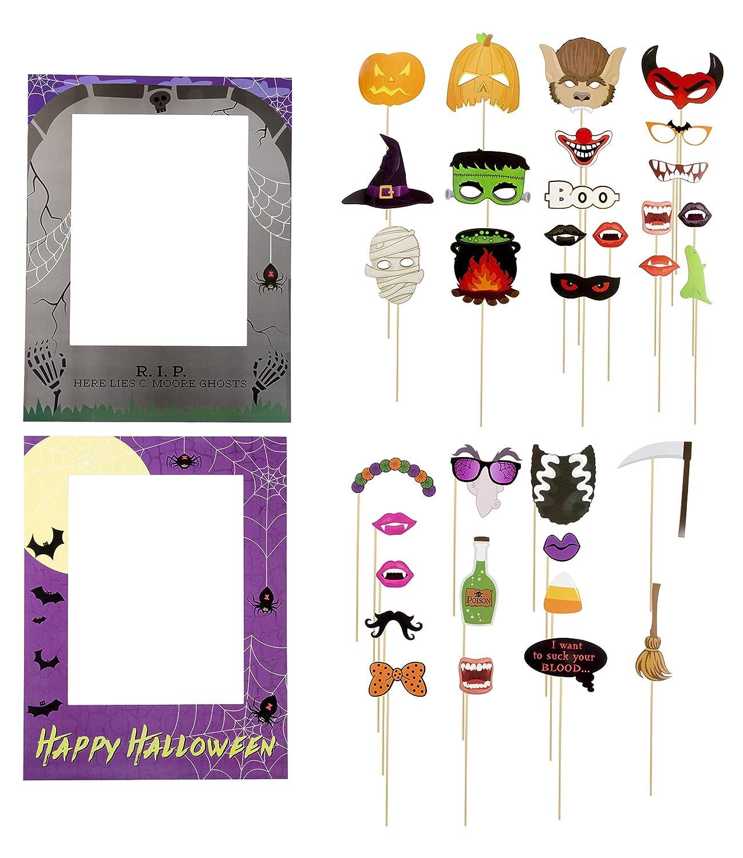 Halloween - Pack de 35 accesorios para fotos, para fiestas de Halloween, selfie y 2 marcos de fotos, divertidos signos de graduación, varios diseños: ...