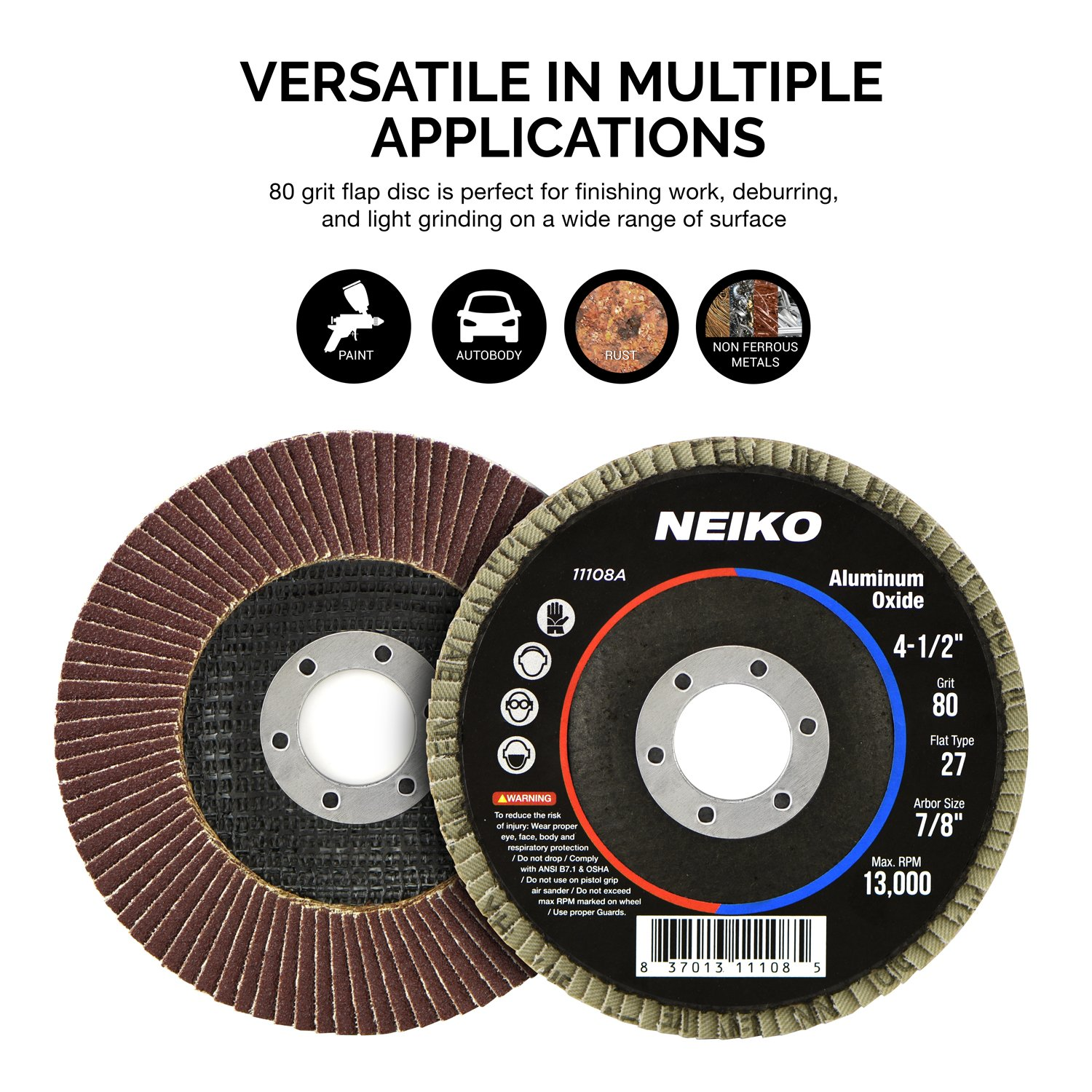 10 Pack 4-1/2'' Auto Body Sanding Flap Discs 80 Grit by Neiko (Image #3)