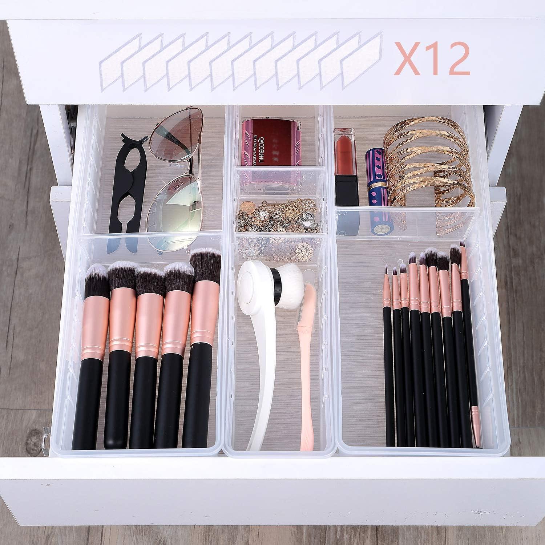 Juego de 15 bandejas organizadoras de escritorio dormitorio ba/ño cajas de almacenamiento de pl/ástico para cocina 4 divisores de cajones de tama/ño para maquillaje oficina