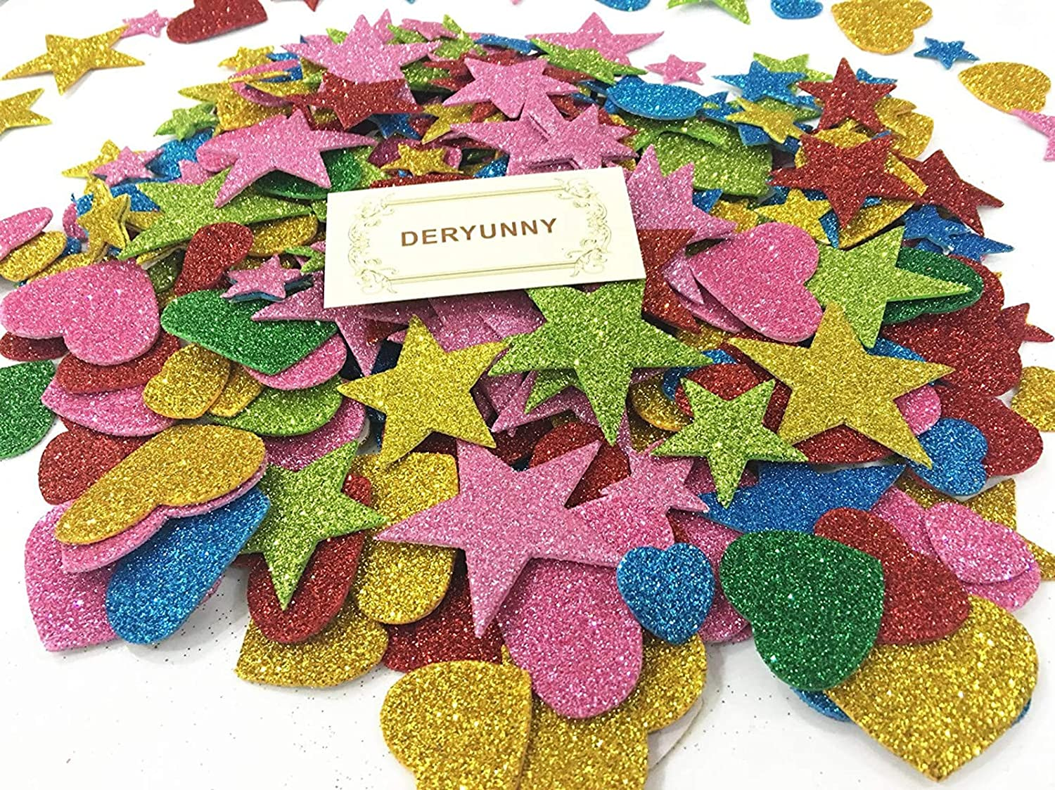 Foam Glitter Stickers Self Adhesive 150 Pieces Mini Heart and Stars Shapes for Kids Arts Craft Supplies Greeting Cards Home Decoration