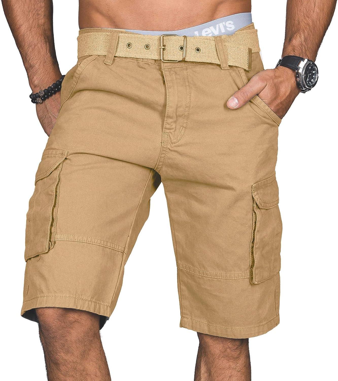 Salvarini Stylische Herren Cargo Short inkl A G/ürtel Sommer Bermuda Kurze Hose Army Shorts AS-037