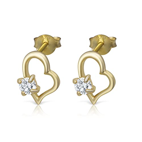14K Yellow Gold Plated Sterling CZ Small Heart Stud Earrings Girls Teens Women