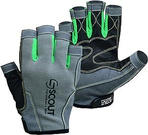 SCOUTPERFORMANCEGEAR Premium Sailing Gloves Dexter Series – 3/4 Finger Padded Grippy Palm – Spandex Back for Best Sailing, Kayaking, Fishing Experience for Men Women