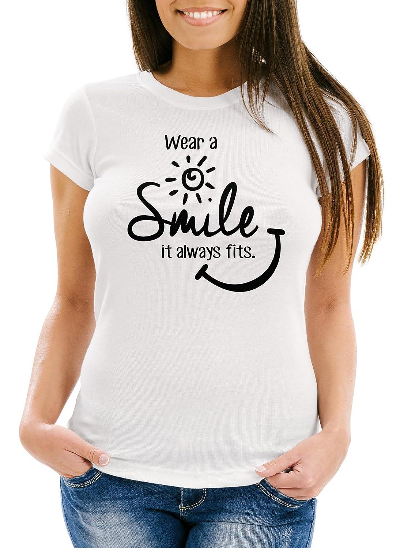 Damen T-Shirt Wear a Smile it always fits Spruch Slim Fit Moonworks®