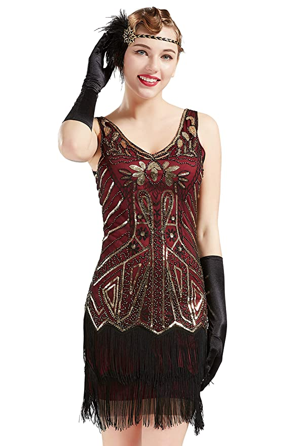 Roaring 20s Costumes- Flapper Costumes, Gangster Costumes BABEYOND Womens Flapper Dresses 1920s V Neck Beaded Fringed Great Gatsby Dress  AT vintagedancer.com
