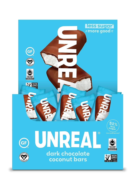 UNREAL Coconut Bars | 3g Sugar | Certified Vegan, Gluten Free, Fair Trade, Non-GMO | No Sugar Alcohols or Soy, Dark Chocolate, 40 Count