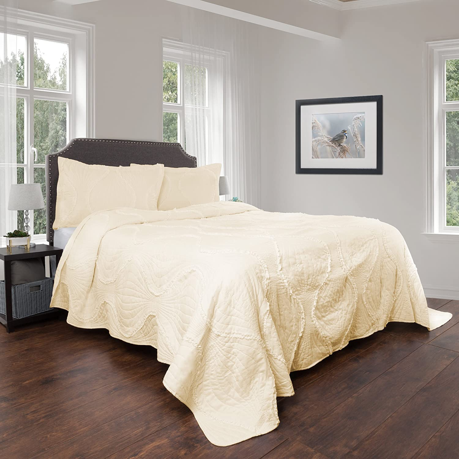 Bedford Home Quilt and Sham Set- Hypoallergenic 3 Piece Oversized King Quilt Bed Set with Curved Ruffle Design- Charlize Series By (Ivory)
