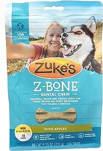 Zukes Z-Bones Apple Mini Dental Chew 18 Count