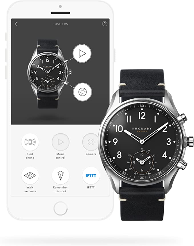 Amazon.com: Reloj de cuarzo kronaby Apex, Negro, 43 mm, 10 ...