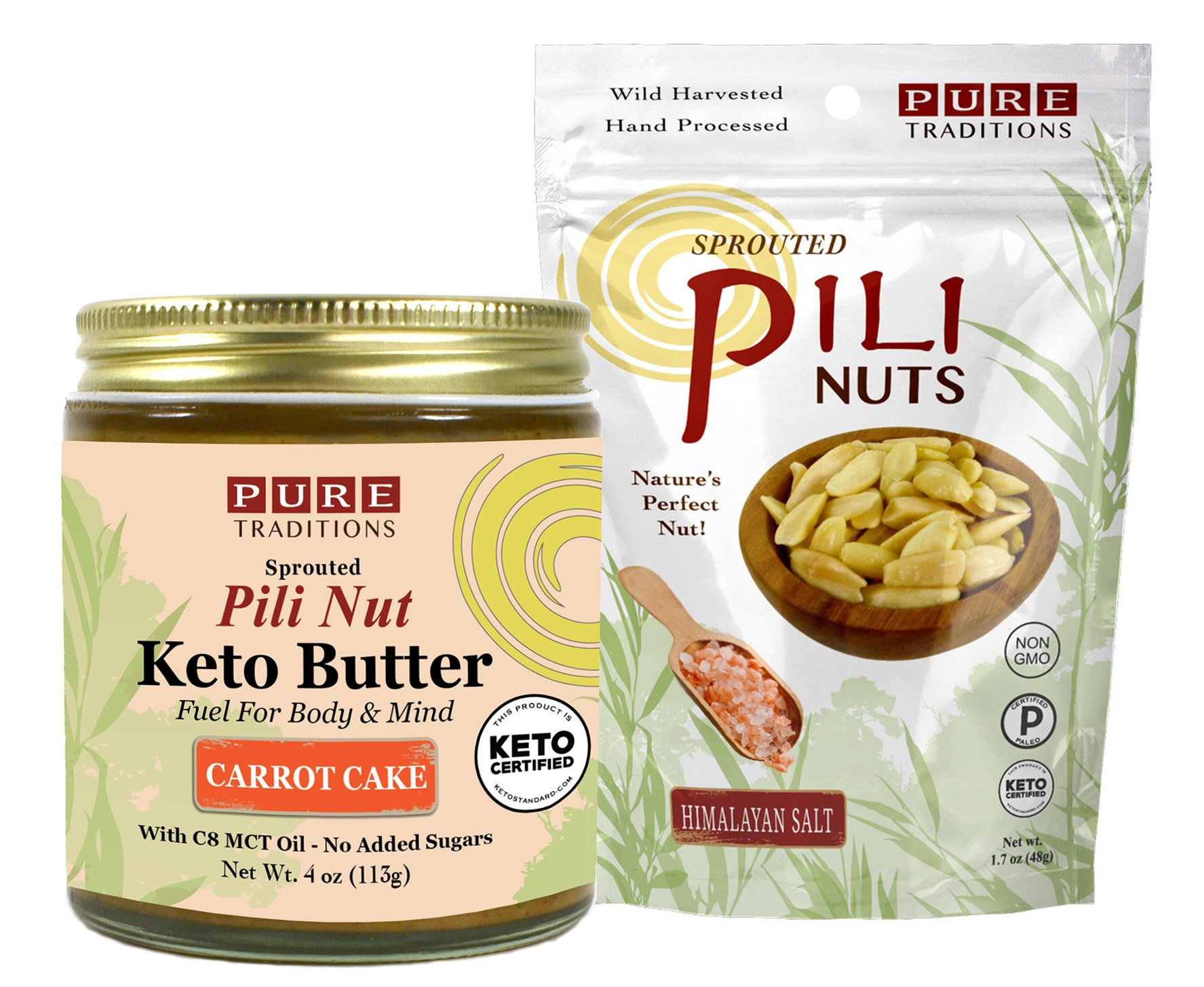 Pili Nut Keto Butter, Carrot Cake (4 oz) plus Sprouted Pili Nuts, Himalayan Salt (1.7 oz)