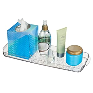 mDesign Bathroom Countertop Toilet Tank Storage Tray Towels, Candles, Jewelry - Clear